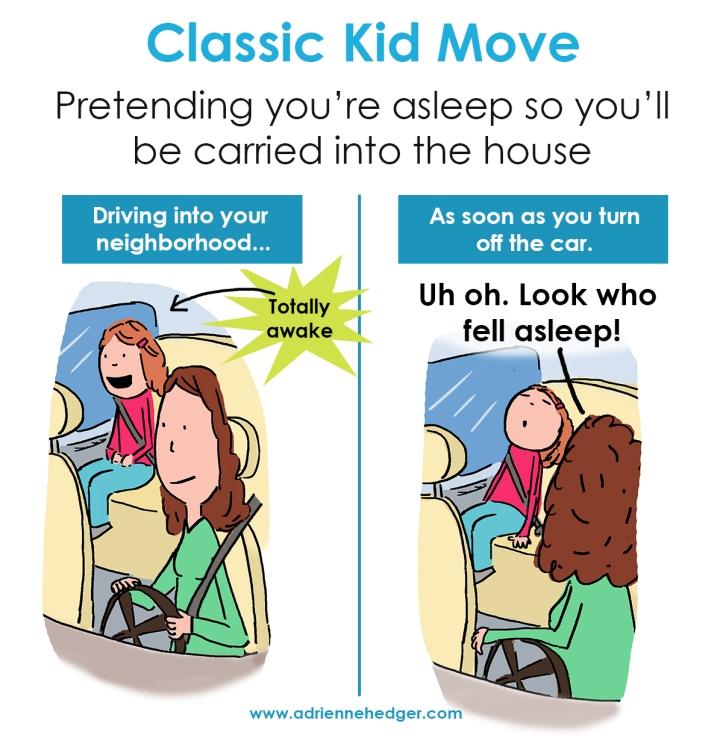 Classic kid move pretending to fall asleep